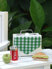 Miniature Dollhouse FAIRY GARDEN Accessories ~ White Metal Lunch Box w Sandwich