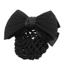 New Black Ruched Bowknot Bow Snood Net Bun Cover Barrette Hair Clip For Wom C3K1