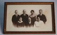 Early 1900s Family Portrait Vintage Antique Photograph in Old Wooden Frame B&W