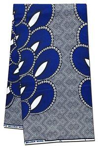 Royal Blue and Silver Ankara Print Cotton Fabric Per Yard Craft Making Sewing