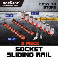 3 industrial Socket Sliding Rail Mountable Rack Holder Tray Organizer1/4 3/8 1/2