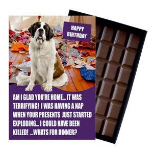 Saint St Bernard Birthday Card Dog Lover Gift Idea 100g Chocolate Bar Him Her