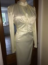 Shiny Satin Highneck Mistress Governess Hobble Dress Size 18,20 Bust 42-46ins