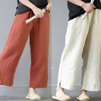 Womens Cotton Linen Flax Wide Leg Loose Vintage Trousers Casual Pants Large Size