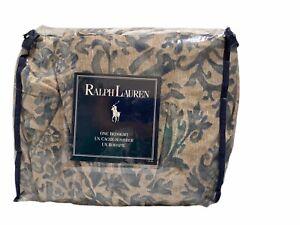 Vintage Ralph Lauren Full Bed Skirt Blue DONOVAN DAMASK NEW-NOS Cotton USA