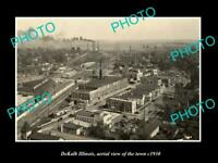 OLD POSTCARD SIZE PHOTO DEKALB ILLINOIS, AERIAL VIEW OF THE TOWN c1930 1