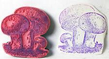 "UM Rubber Stamp MUSHROOMS Group of 3 Fungi Growing Drawing 1-7/8 x 1-7/8"""