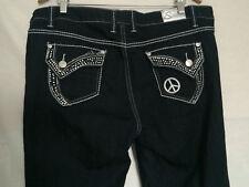 Suko Jeans Sz 16 Boot Peace Sign Embroidered Rhinestones Stretch Dark Denim