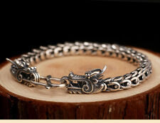 Unique geniune handmade 925 silver dragon bracelet 88.34gram 22cm