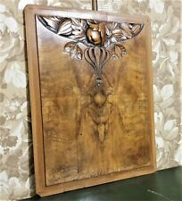 Flower fruit wood carving panel Antique french art deco architectural salvage
