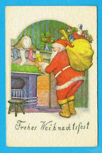 """Grußkarte Weihnachten """"Weihnachtsmann Roter Mantel Kamin Geschenkesack"""""""