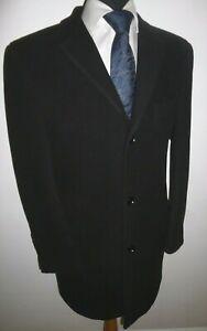 Mens Overcoat Black Wool Blend Coat Size 42 R 107cm Classic crombie style
