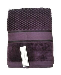 NEW THREADHOUSE PURPLE PLUM 3D CHECKER PATTERN 100% COTTON OEKO-TEX BATH TOWEL