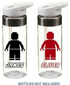 LEGO MAN personalised bottle name stickers for school for drinks water bottle