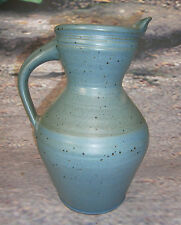 HAND CRAFTED STUDIO ART POTTERY SIGNED WATER PITCHER JUG OLD COTTAGE  12 1/2""