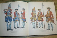 Sammlerbuch alte Uniformen, sächsische Heer, Mützen, Fahnen, 1730, Farbtafeln