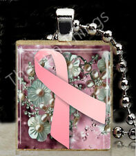 Pink Ribbon Scrabble Tile Pendant Jewelry Breast Cancer Awareness Support A