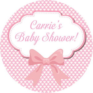 PERSONALISED GLOSS PINK BOW BABY SHOWER LABELS  SWEET CONE  CHRISTENING STICKERS