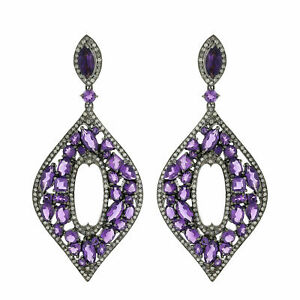 Christmas Gift Amethyst Dangle Earring 14k Gold 925 Sterling Silver Jewelry SA