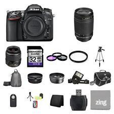 Nikon D7100 SLR Camera w/18-55mm & 70-300mm Lenses 32GB Full Kit