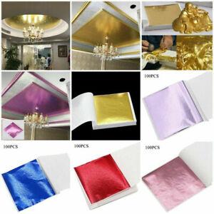 100 Sheets Foil Leaf Paper Imitation Gold Silver Copper Leaf Gilding Craft DI FT
