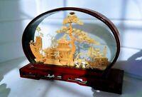 Scenic Vintage Dome Diorama Hand Carved Cork Pagoda, Cranes & Landscape