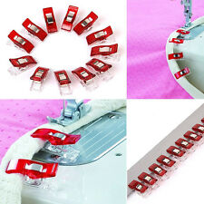 12 PCS Clear Sewing Craft Quilt Binding Plastic Clips Clamps Clear and Red