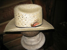 Vintage BRADFORD Straw  sz 7 1/8 Cowboy Hat Made in Texas EUC