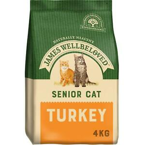 4kg James Wellbeloved Natural Senior Complete Dry Cat Food Biscuits Turkey &Rice