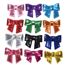 12 Pcs Sequin Bows Knots DIY Applique Accessiories Hairband Cloth DecorationsCP