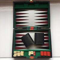 Vintage Backgammon Set Faux Leather Black Travel Case Counters Shaker + Dice