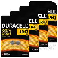 8 x Duracell Alkaline LR43 batteries 1.5V 186 V12GA AG12 1176A Coin Cell 2 Pack
