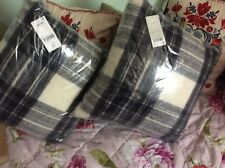 🐝NEXT x 2 Stunning Quality 100% Wool Black/Grey Tartan Check Cushions New🐝