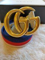 Gucci Women's Belt GG Marmont White Blue Red Size 90B/36 AUTHENTIC/ RECEIPT/ BOX