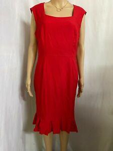 JACQUI.E SIZE 16 RED PENCIL DRESS PLEATED FLOUNCE HEM STRETCH