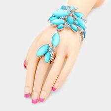 SILVER Aqua cristallo satinato Bracciale catena a mano Anello Stretch da rocce Boutique