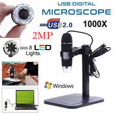 1000X 8 LED 2MP HD USB Digital Microscope Endoscope Magnifier Camera+Lift Stand