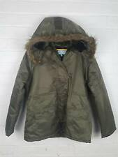 Primark Atmosphere Khaki Green Padded Hooded Coat Faux Fur Winter Casual UK 16