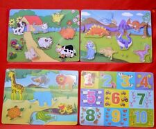 NEW SET OF 4 WOODEN PRE SCHOOL JIGSAW PUZZLES FARM JUNGLE NUMBERS DINOSAURS 5620