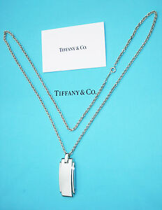Tiffany & Co Sterling Silver Mens Metropolis Pendant 20 Inch Chain Necklace