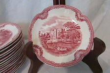 Red Transfer Ware Johnson Brothers Saucer Old Britain Kenilworth Castle