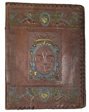 Antique Italian Handmade Leather Embossed Book Cover