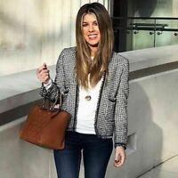 Chaqueta blazer básica Zara recortada tweed flecos