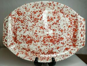 70's Vintage Retro White-Red Splatter Ceramic Tray 11 X 8 for Valentines Signed