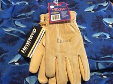 (1) Pair Suede Pigskin Driving Gloves Size: Men Large - Thermal Lined - 94Hk-L