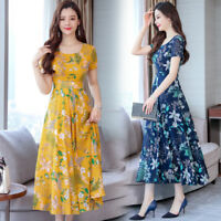 Women Chiffon Boho Empire Waist Floral Maxi Tunic Long Party Summer Beach Dress