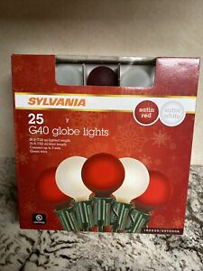 Sylvania G 40 Globe Lights Frosted 25 ct Red & White Satin Bulbs NIB Indoor/Out
