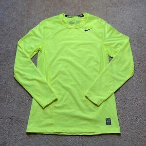 Mens Nike Pro Combat Fitted Hyperwarm Lite Yellow Long Sleeve Shirt Medium Med M