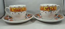 """2 Sets Mary Englbreit """"Be Warm Inside and Out"""" Cup & Saucer, Flowers Exc Cond"""