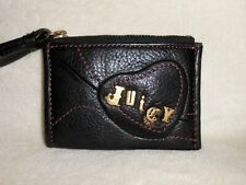 JUICY COUTURE SMALL BUTTERY SOFT BLACK LEATHER WALLET/COIN PURSE, LOGO, NICE!